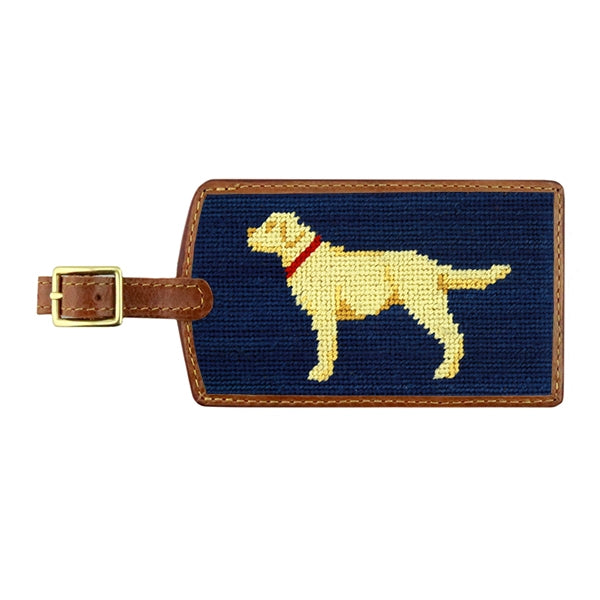 Smathers & Branson Yellow Lab Needlepoint Luggage Tag - Classic Navy