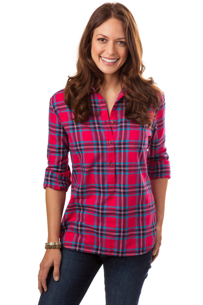 Southern Tide Hadley Popover - Raspberry Plaid