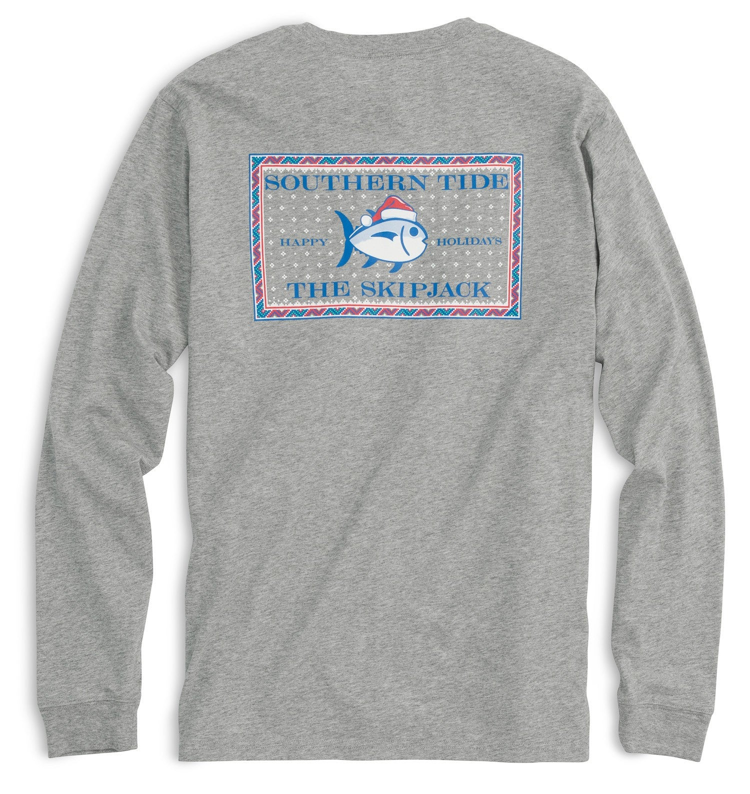 Back view Southern Tide Long Sleeve Fair Isle Skipjack Tshirt in Gray Heather