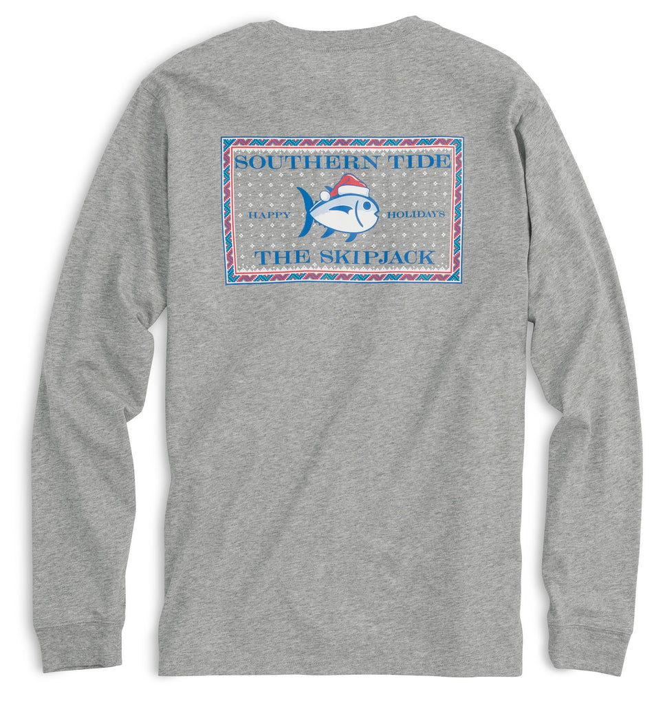 Southern Tide Long Sleeve Fair Isle Skipjack T-shirt - Gray Heather