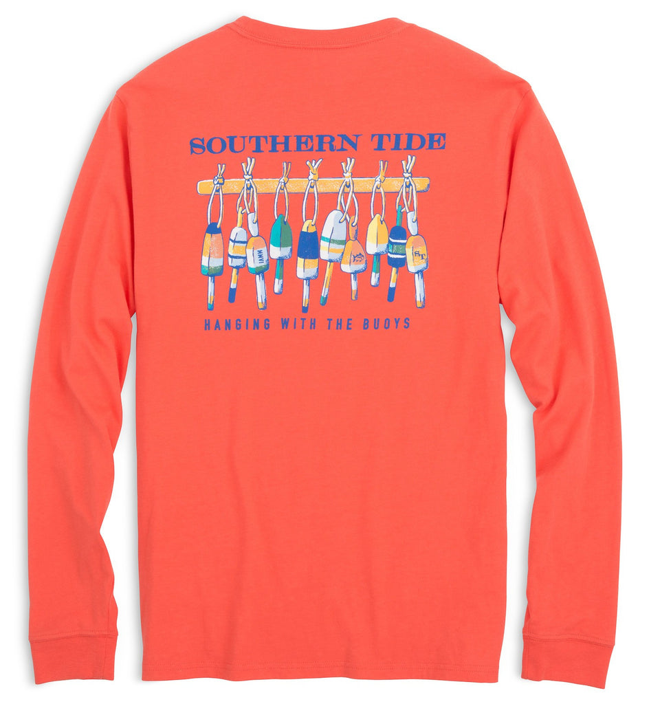 Southern Tide Long Sleeve Hanging With The Buoys T-Shirt - Hot Coral