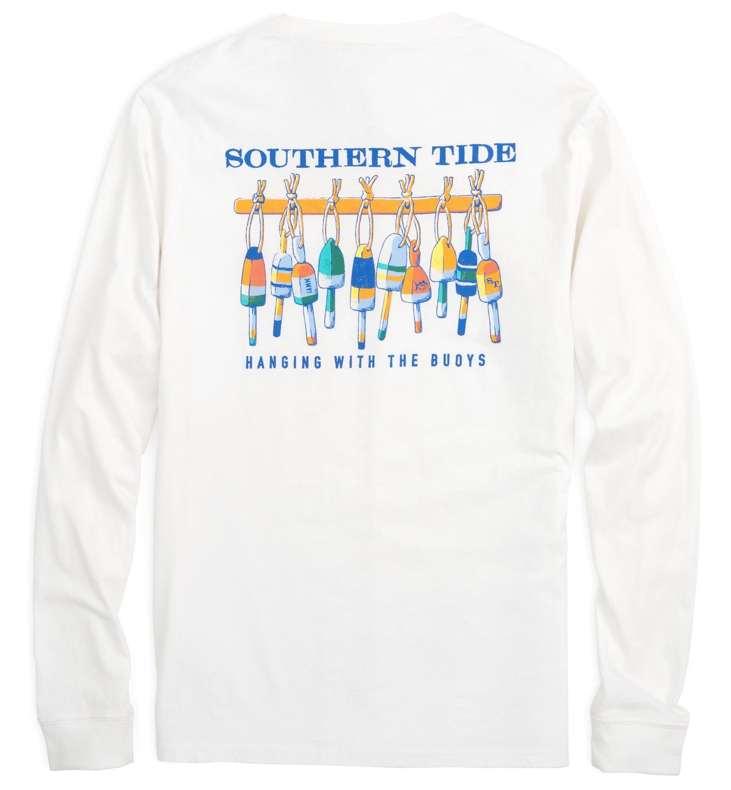 Back View Southern Tide Long Sleeve Hanging With The Buoys T-Shirt in Classic White