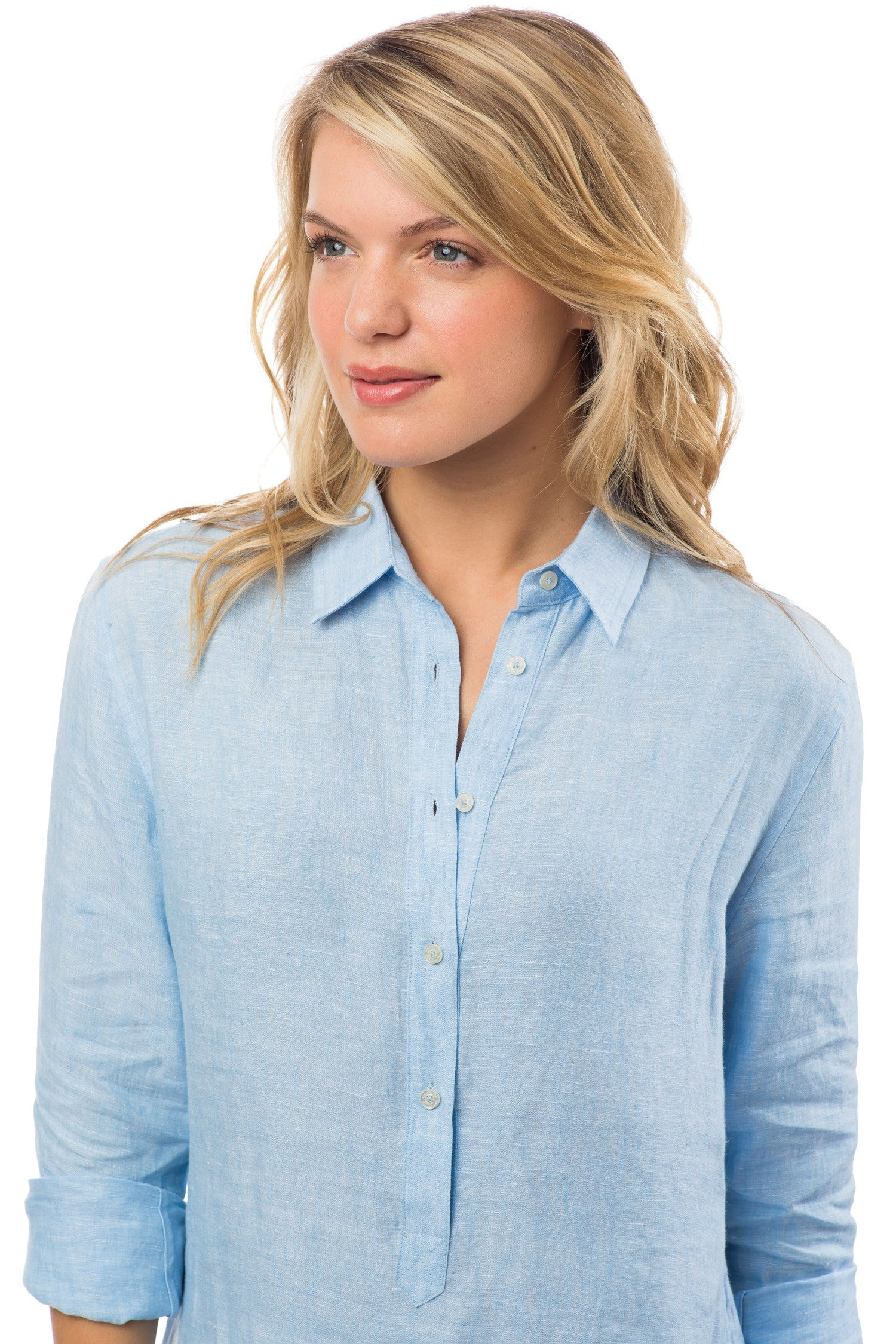Southern Tide Linen Hadley Popover - Ocean Channel Front View