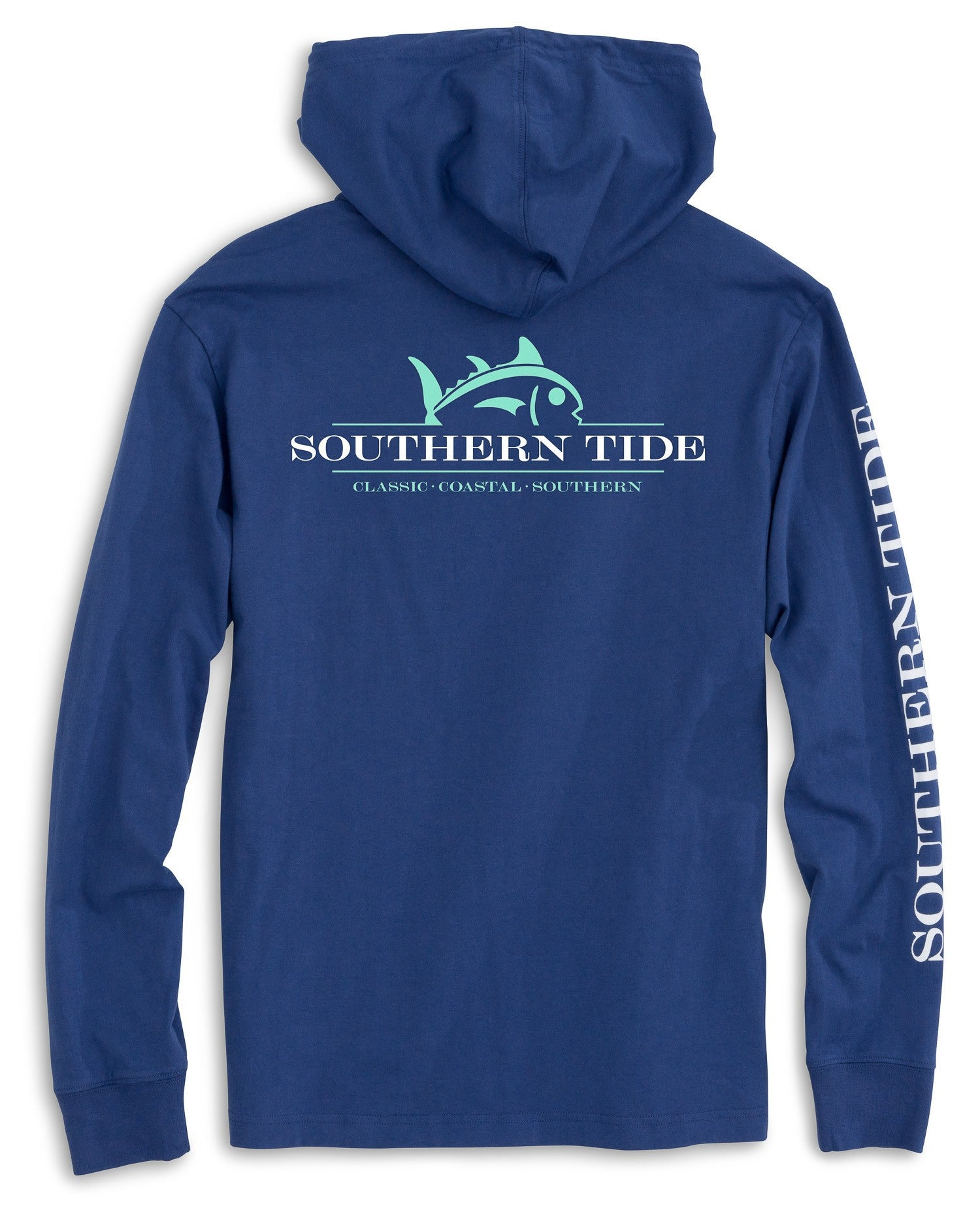 Southern Tide Rising Skipjack Long Sleeve Hoodie T-Shirt - Seven Seas Blue Back View