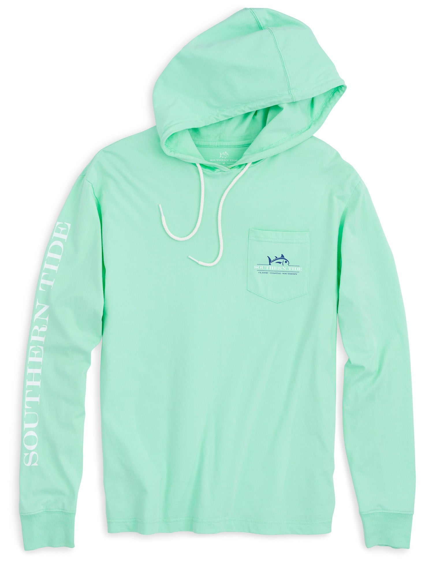 Southern Tide Rising Skipjack Long Sleeve Hoodie T-Shirt - Offshore Green Front View