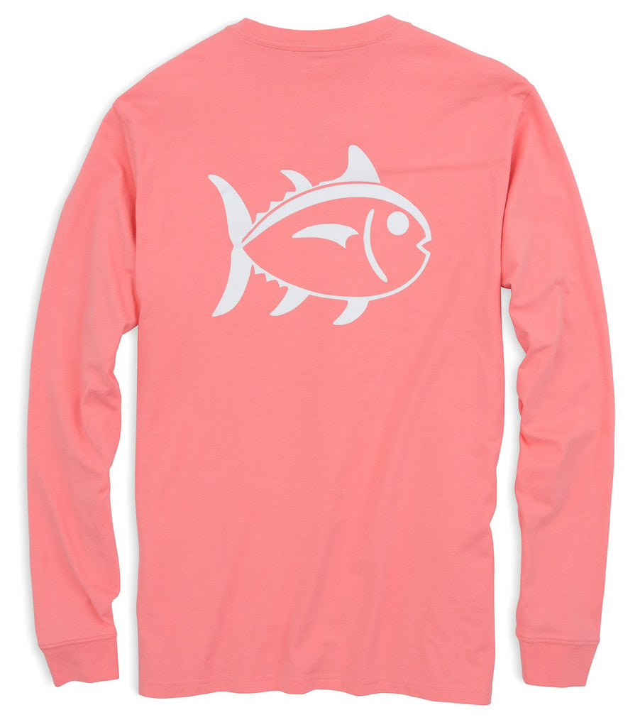 Southern Tide Outline Skipjack Long Sleeve T-Shirt - Light Coral