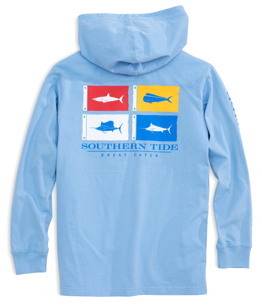 Southern Tide Kids Catch Flags Long Sleeve Hoodie T-shirt - Sky Blue