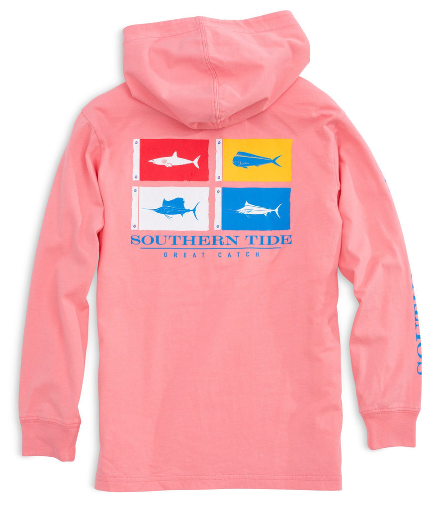 Southern Tide Kids Catch Flags Long Sleeve Hoodie T-shirt - Light Coral