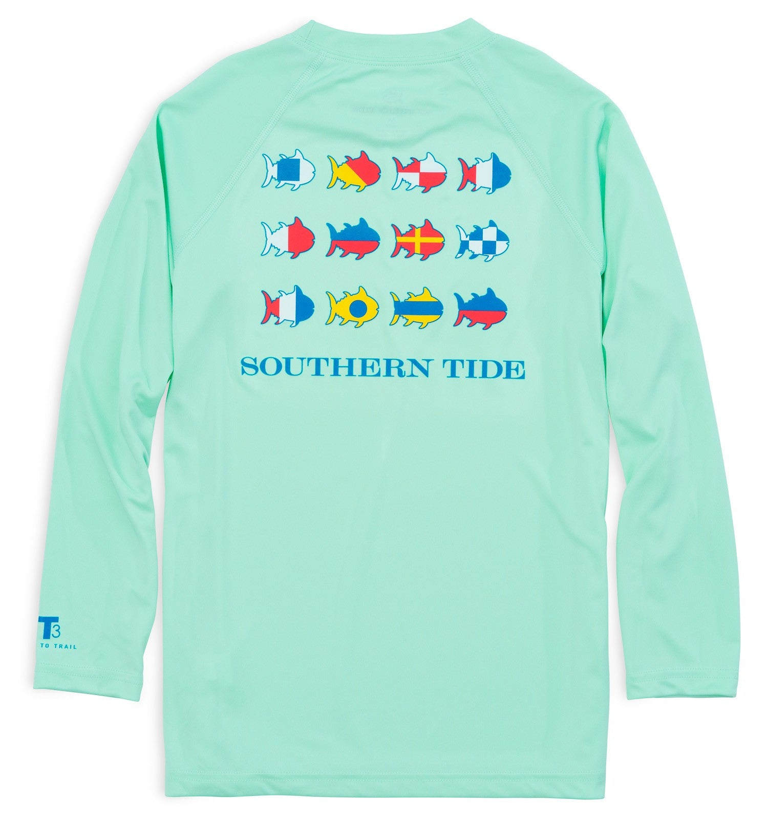 Southern Tide Kids Nautical Flags Long Sleeve Performance T-shirt - Offshore Green Back View