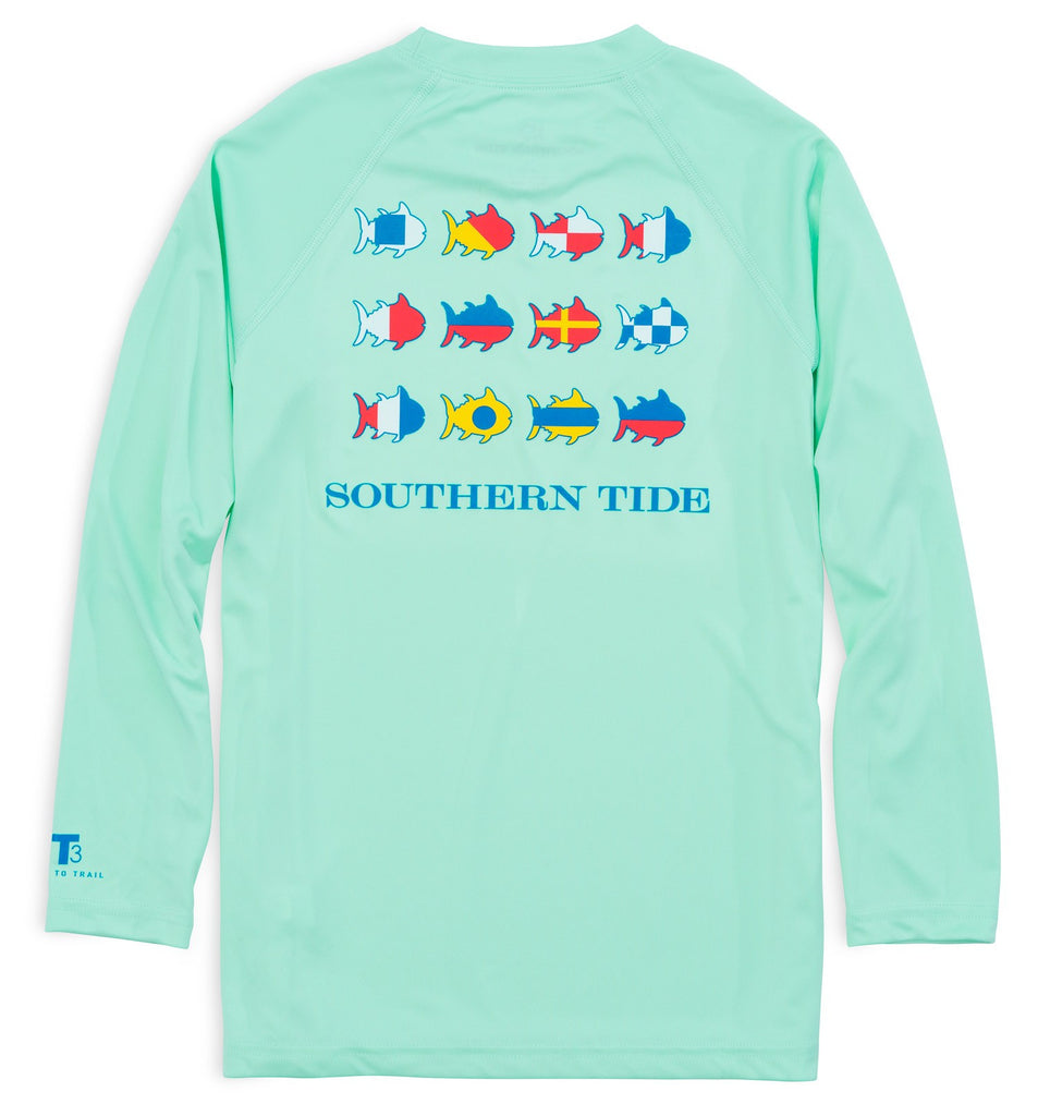 Southern Tide Kids Nautical Flags Long Sleeve Performance T-shirt - Offshore Green