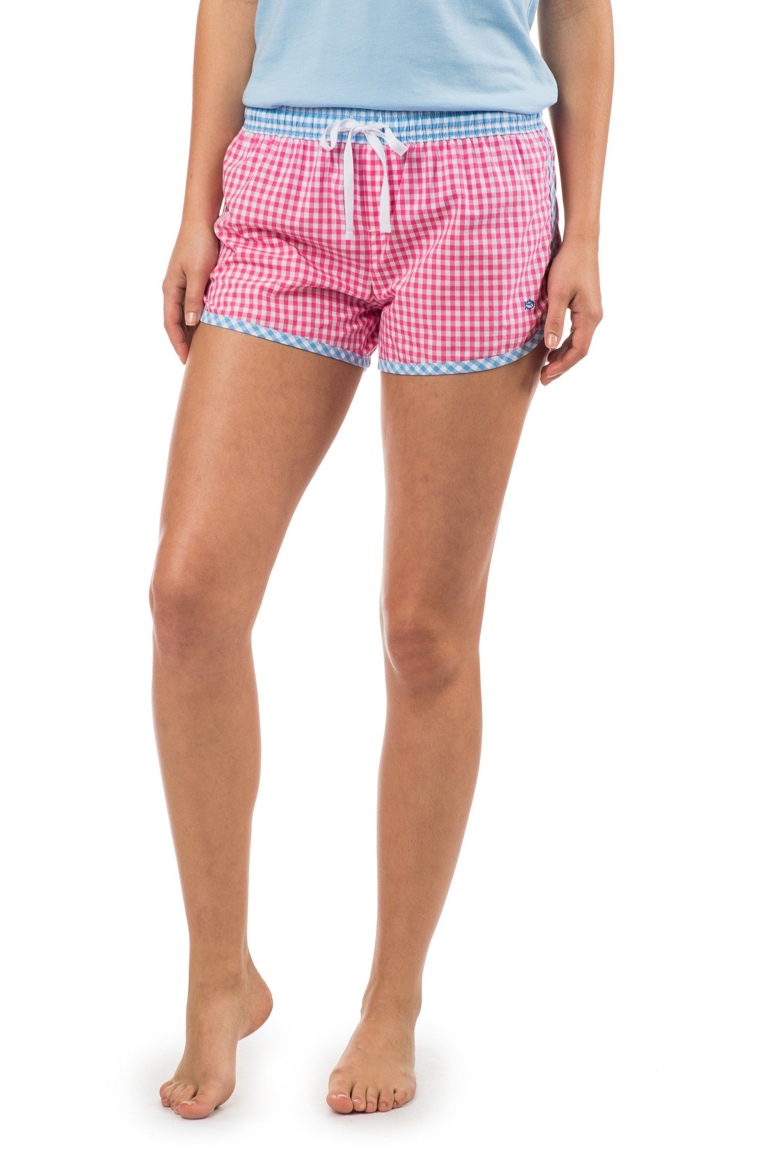 Southern Tide Gingham Lounge Short - Bloom Pink Front View