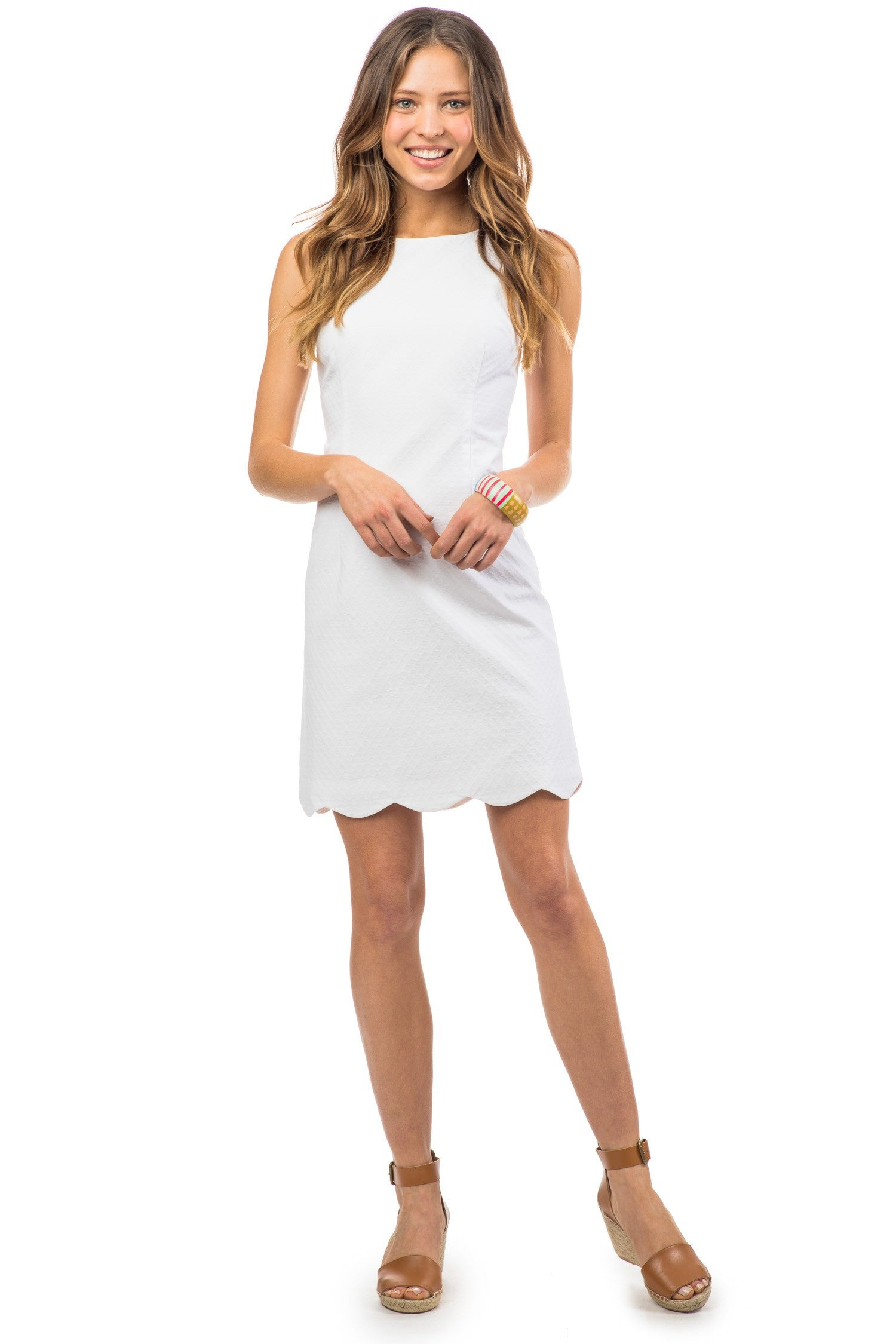 Southern Tide Charleston Wavy Scallop Dress - Classic White Front View