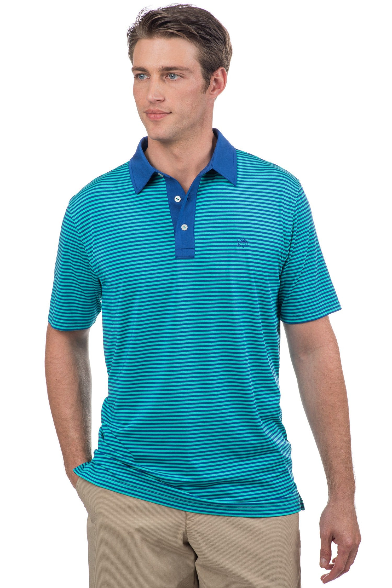 Southern Tide Game Set Match Stripe Performance Polo - Tropical Palm Front View