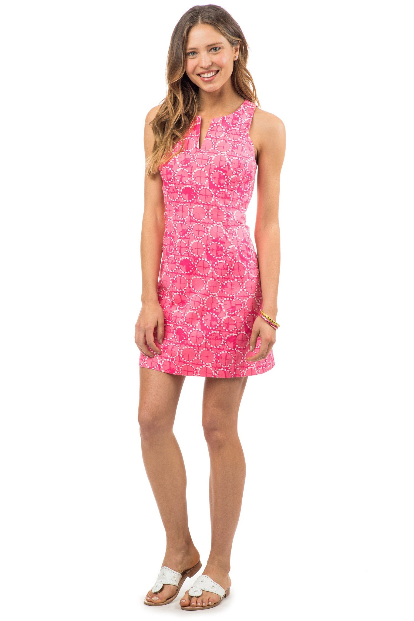 Southern Tide Sand Dollar Print Dress - Pink Front View