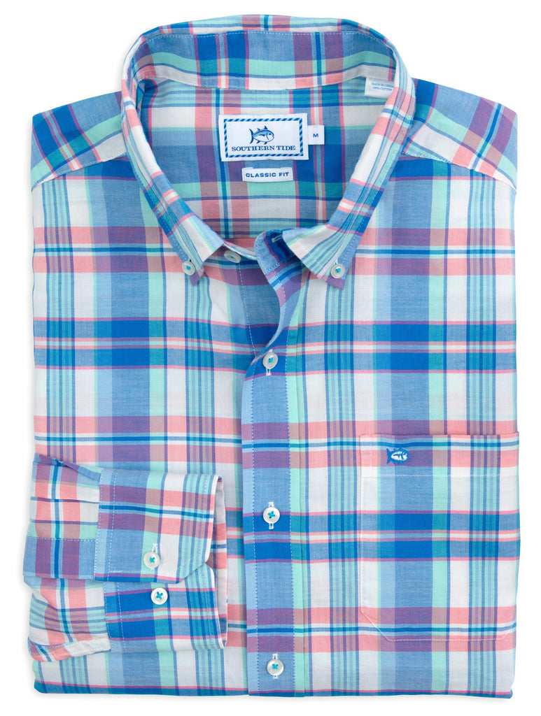 Southern Tide Long Bay Plaid Sport Shirt - Legacy Blue