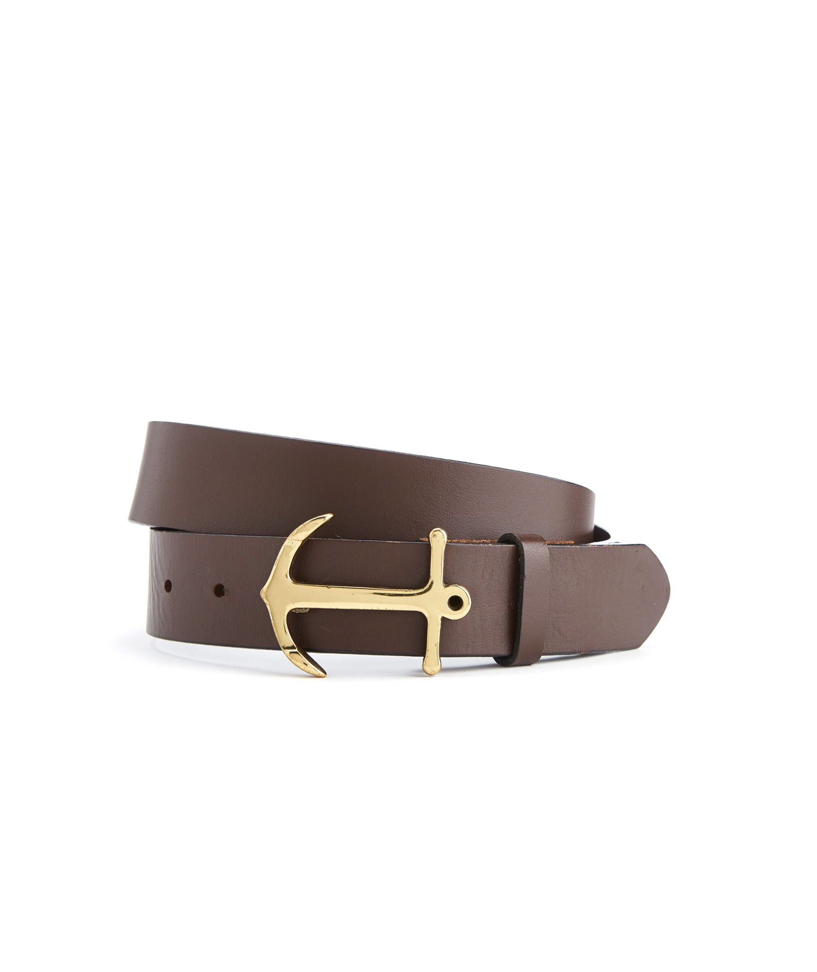 Front View Vineyard Vines Anchor Belt in Brown