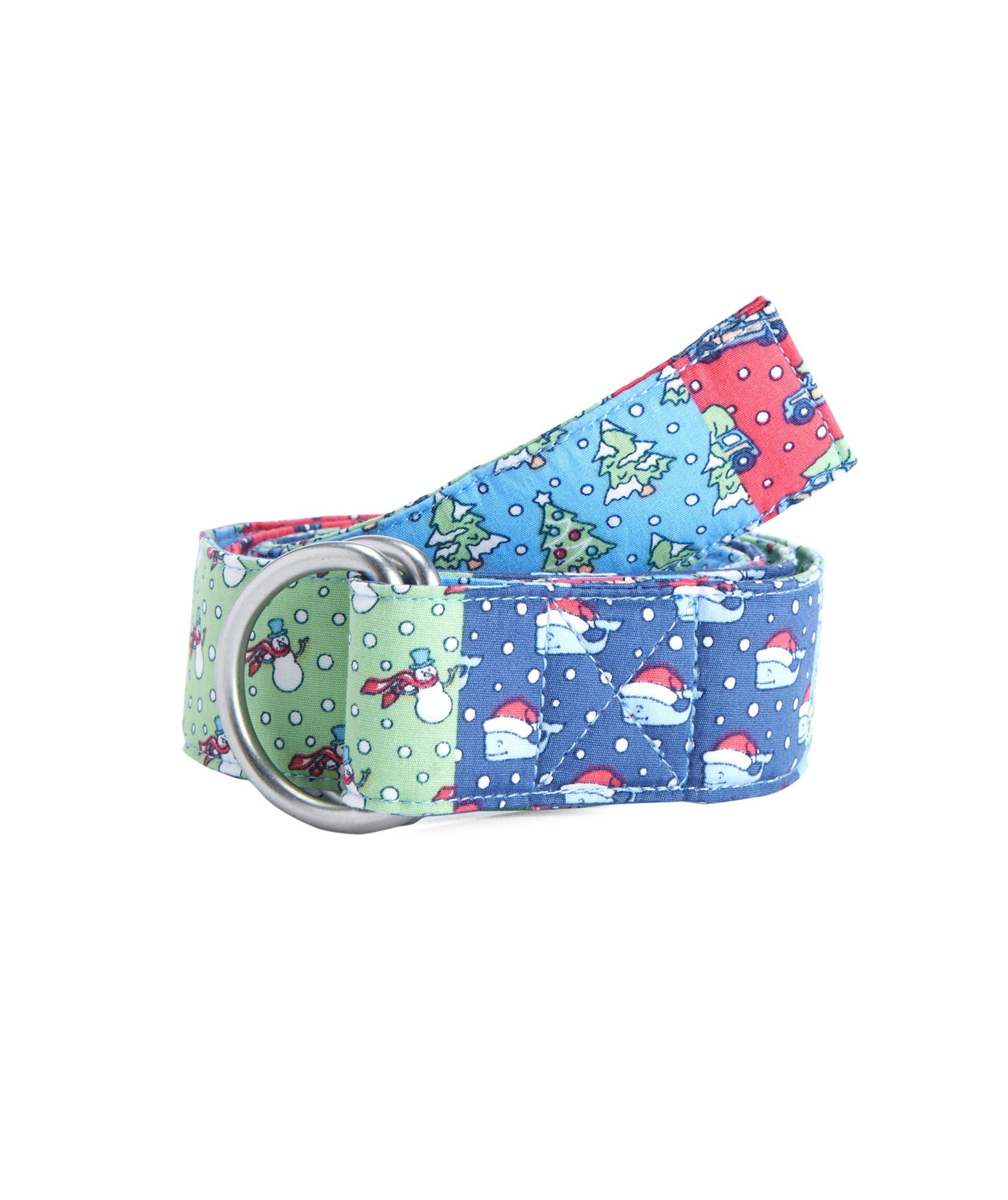 Front View Vineyard Vines Holiday Patchwork D-Ring Belt in Patchwork