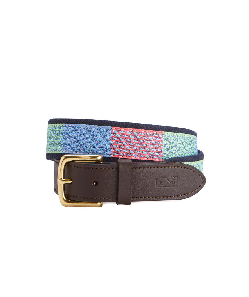 Vineyard Vines Men's Vineyard Whale Patchwork Canvas Club Belt - Multi