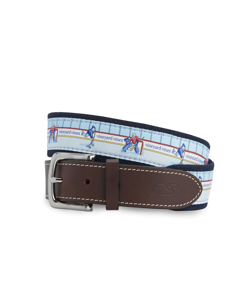Vineyard Vines Hockey Rink Canvas Club Belt - Crystal Blue