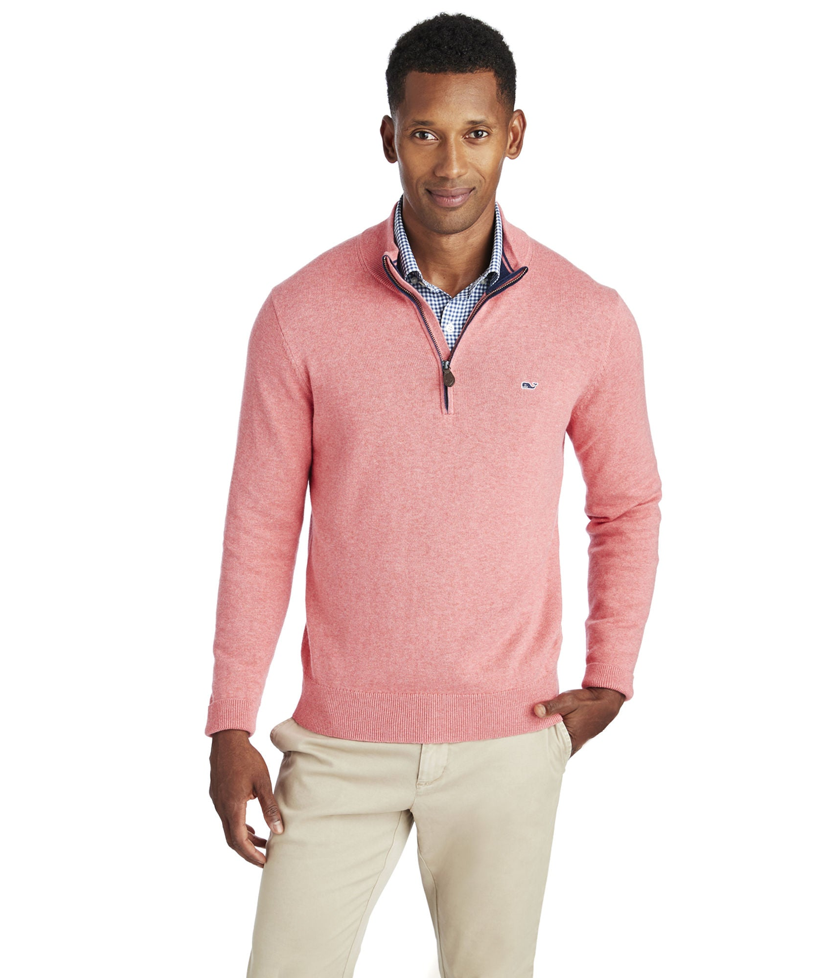 Vineyard Vines Palm Beach Cotton-Cashmere 1/4-Zip Sweater - Jetty Red