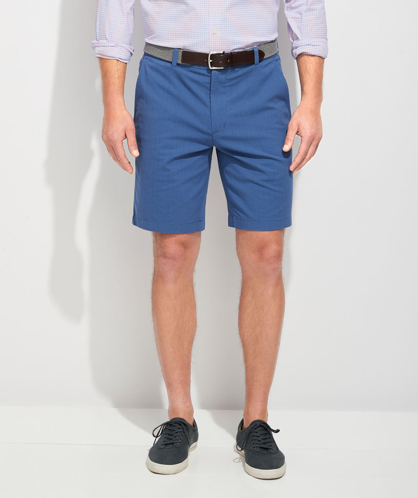 Vineyard Vines 9 Inch Seersucker Shorts - Moonshine/Flag Blue