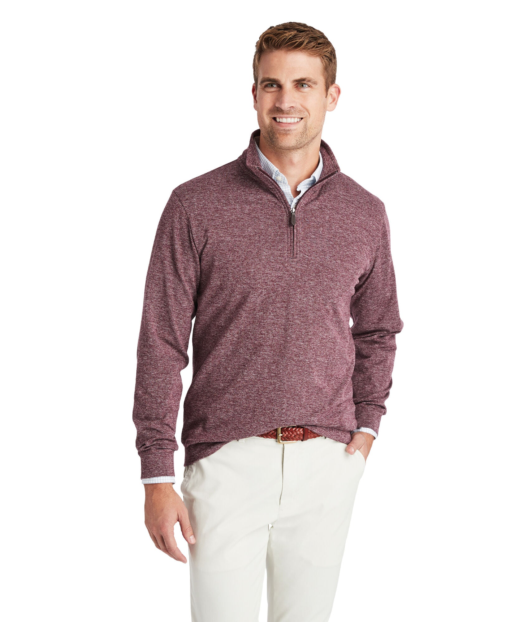 Vineyard Vines Herringbone 1/2-Zip Pullover - Crimson