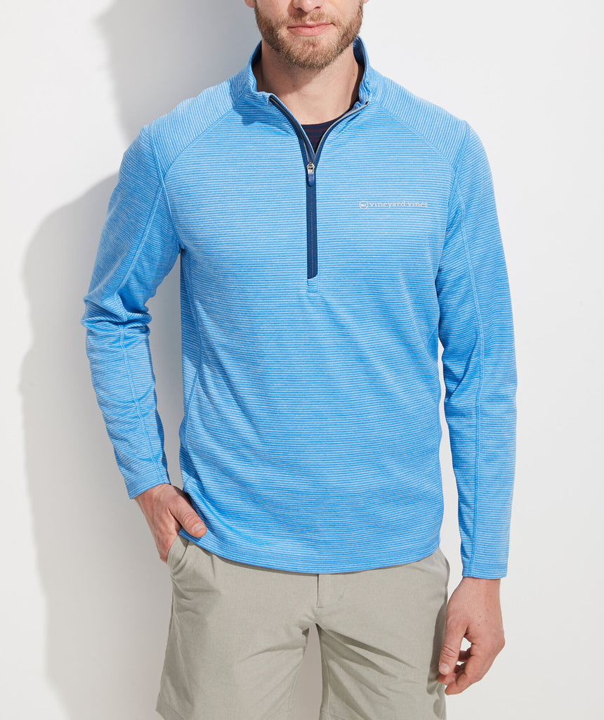 Vineyard Vines Striped Sankaty 1/2-Zip Pullover - Ocean Breeze