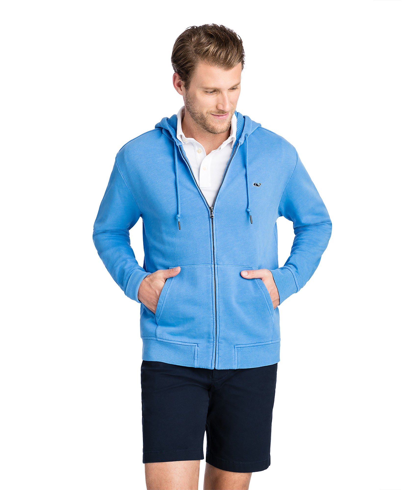Vineyard Vines Garment-Dyed Full Zip Hoodie - Hull Blue