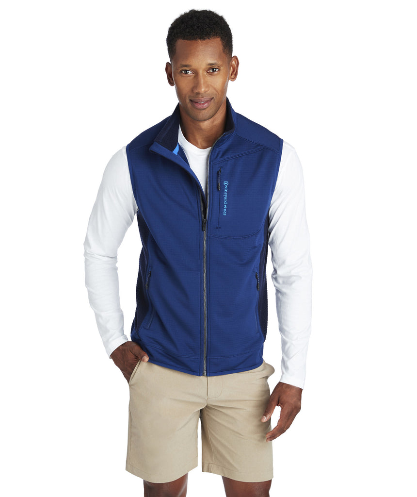 Vineyard Vines Grid Fleece Vest - Deep Bay