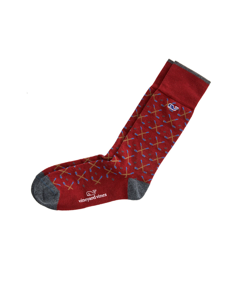 Vineyard Vines Hockey Sticks Icon Socks - Crimson