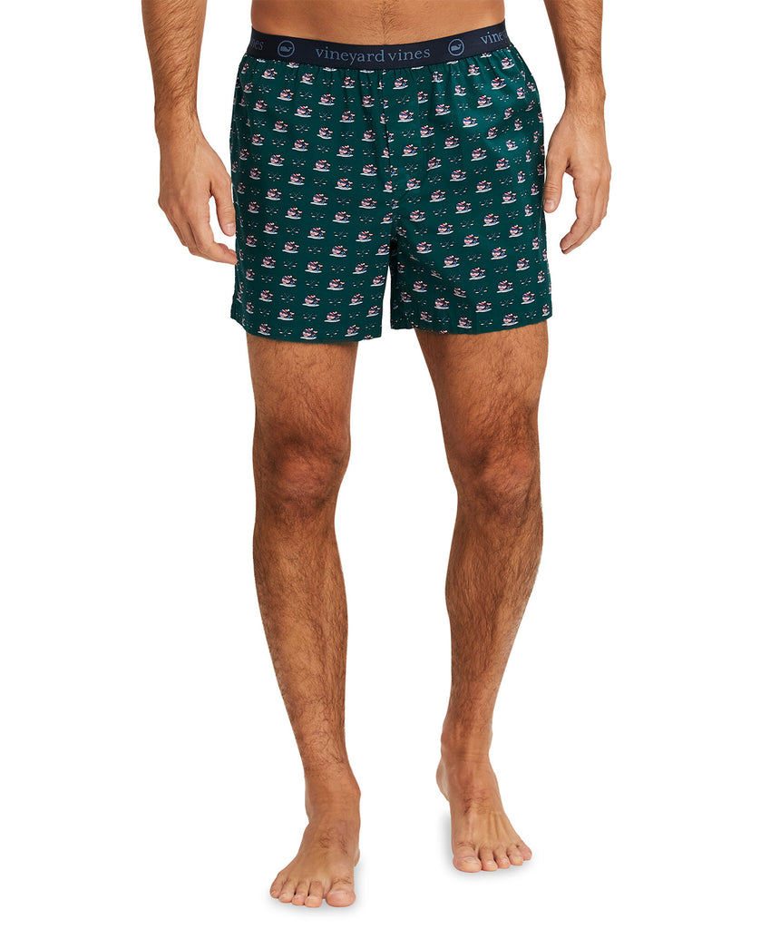 Vineyard Vines Hockey Whale Printed Boxers - Charleston Green