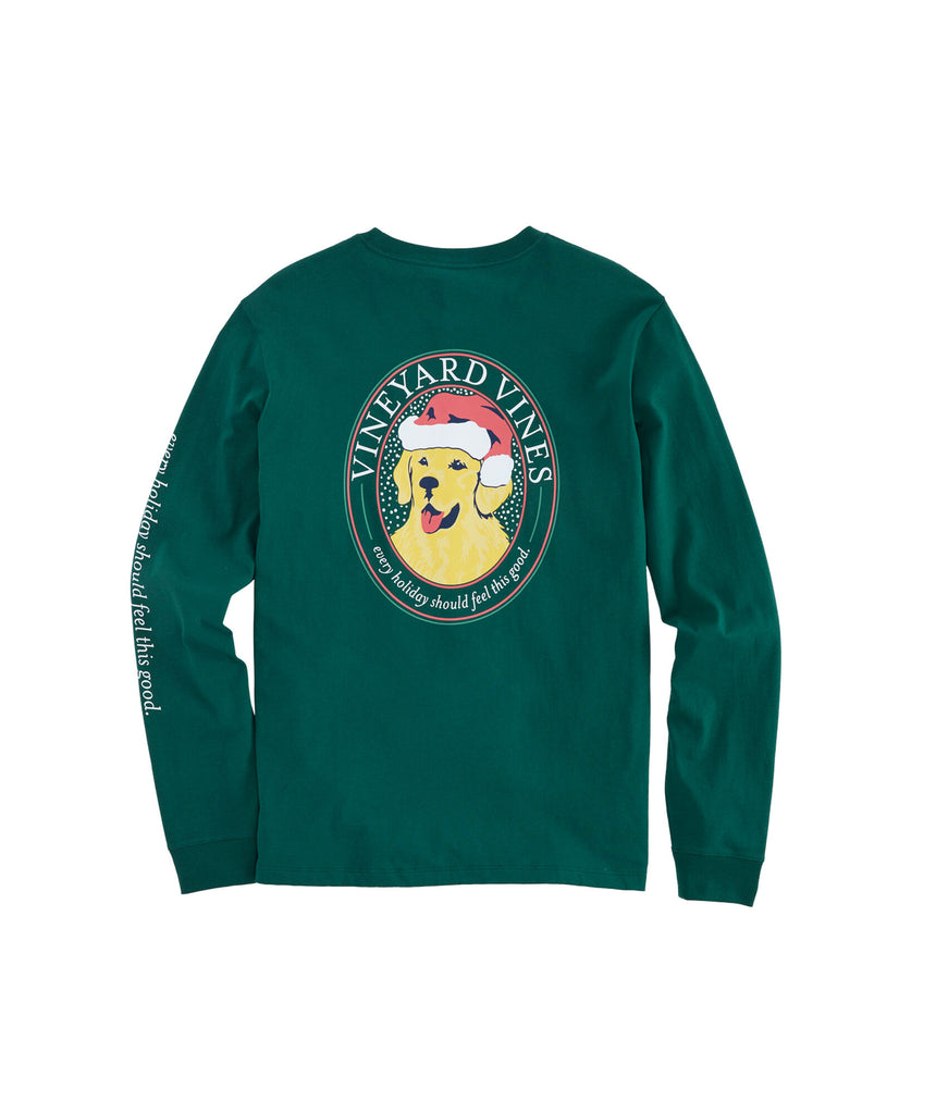 Vineyard Vines Christmas Good Boy Long-Sleeve Pocket Tee - Charleston Green