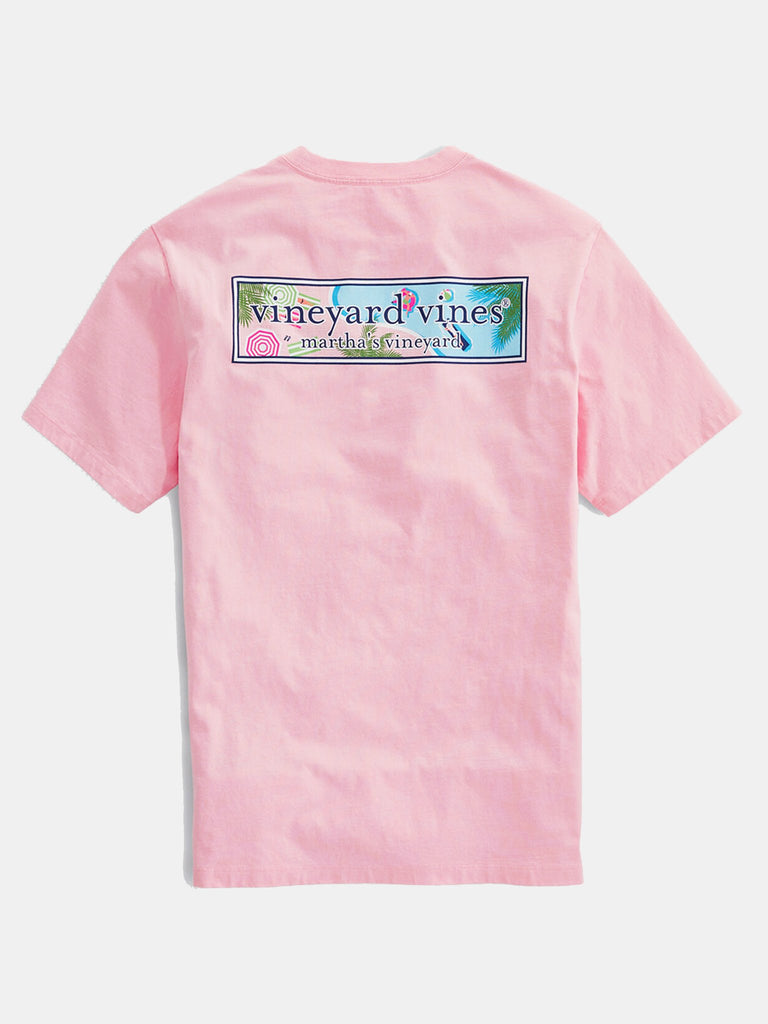 Vineyard Vines Men's Short Sleeve Resort Pool Logo Box Fill Tee - Hibiscus