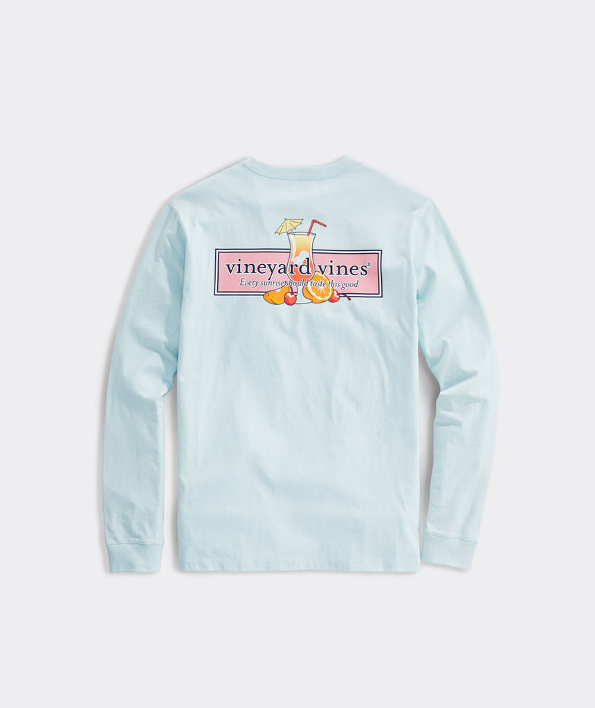 Vineyard Vines Tequila Sunrise Logo Long-Sleeve Tees - Beachcomber Blue