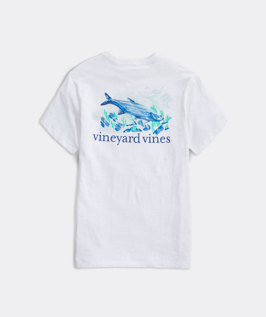 Vineyard Vines Painted Tarpon Slub Short-Sleeve Pocket Tee - White Cap