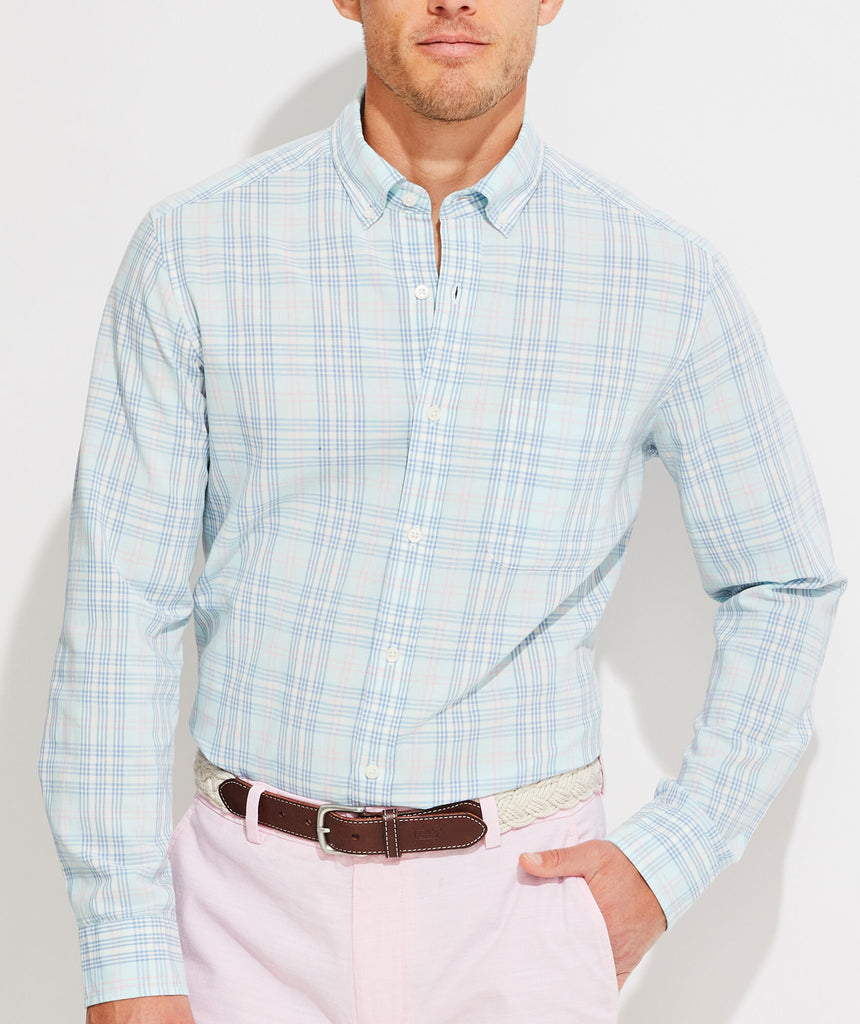 Vineyard Vines Classic Fit Grapefruit Murray Button-Down Shirt - Beachcomber Blue