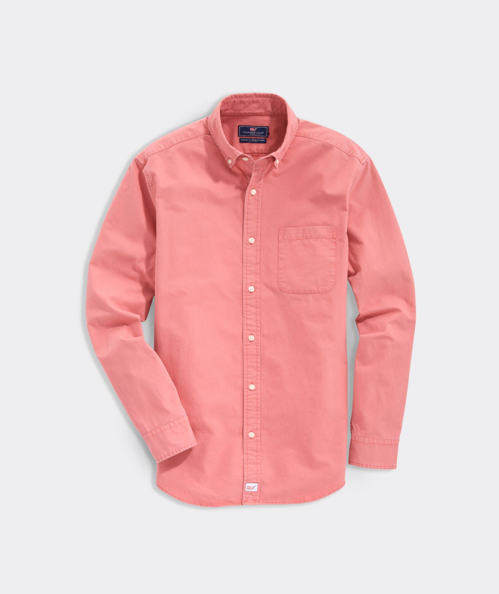 Vineyard Vines Classic Fit Solid Twill Murray Button-Down Shirt - Red Sky