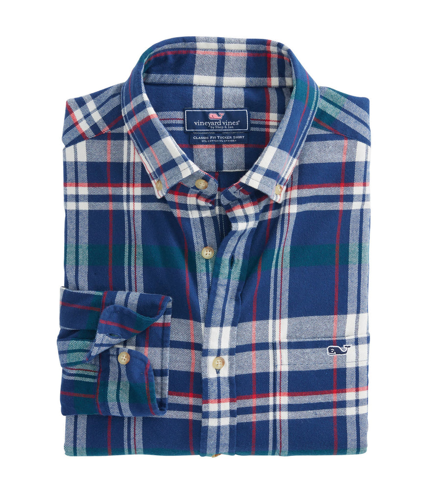 Vineyard Vines Sea Craft Flannel Classic Tucker Shirt - Deep Bay