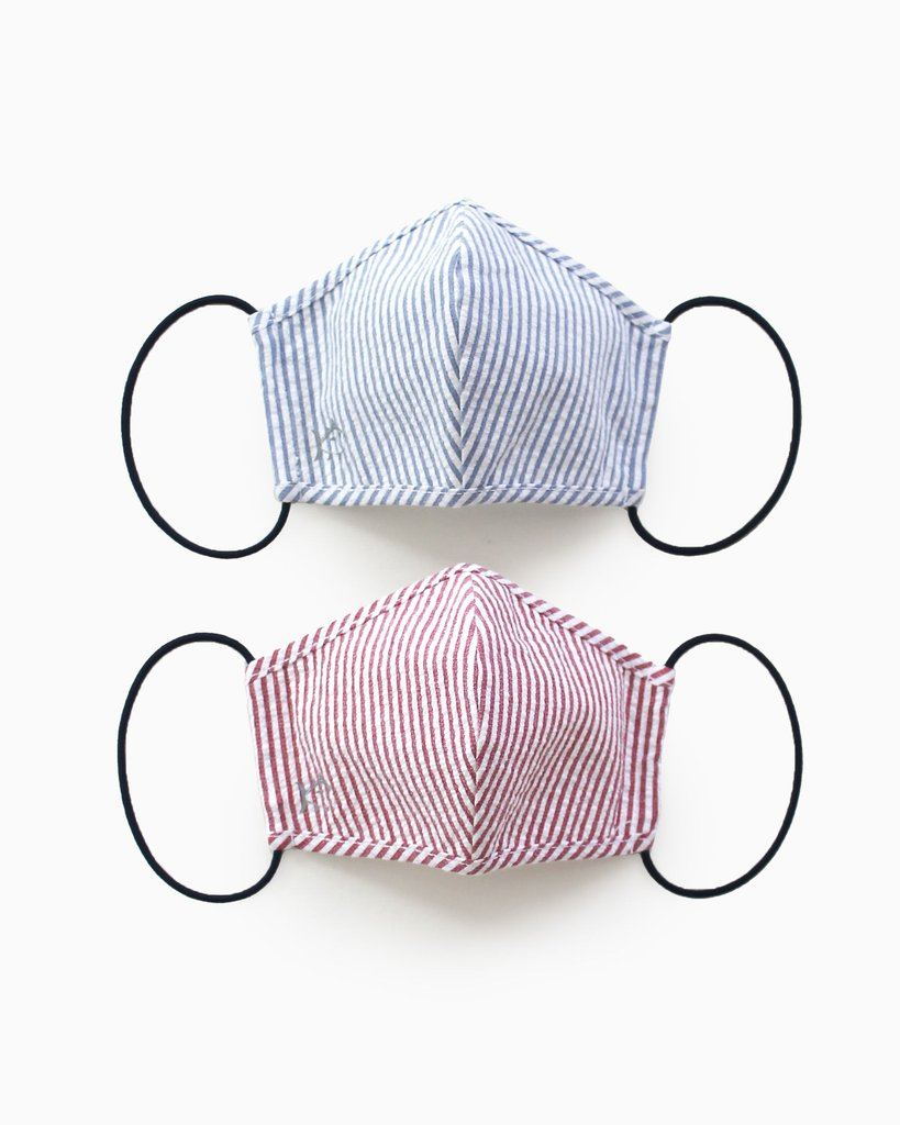 Southern Tide 2-Pack Kids Seersucker Masks - Navy/Red