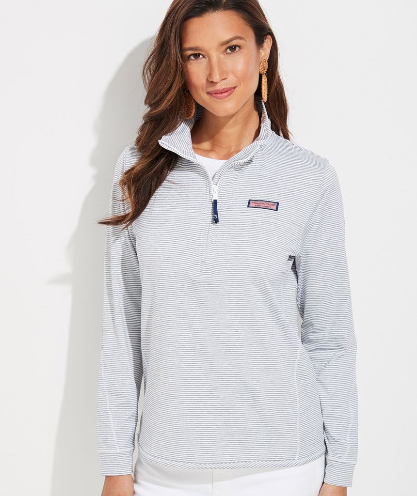 Vineyard Vines Micro Stripe Lightweight Sankaty Shep Shirt - Heather Gray