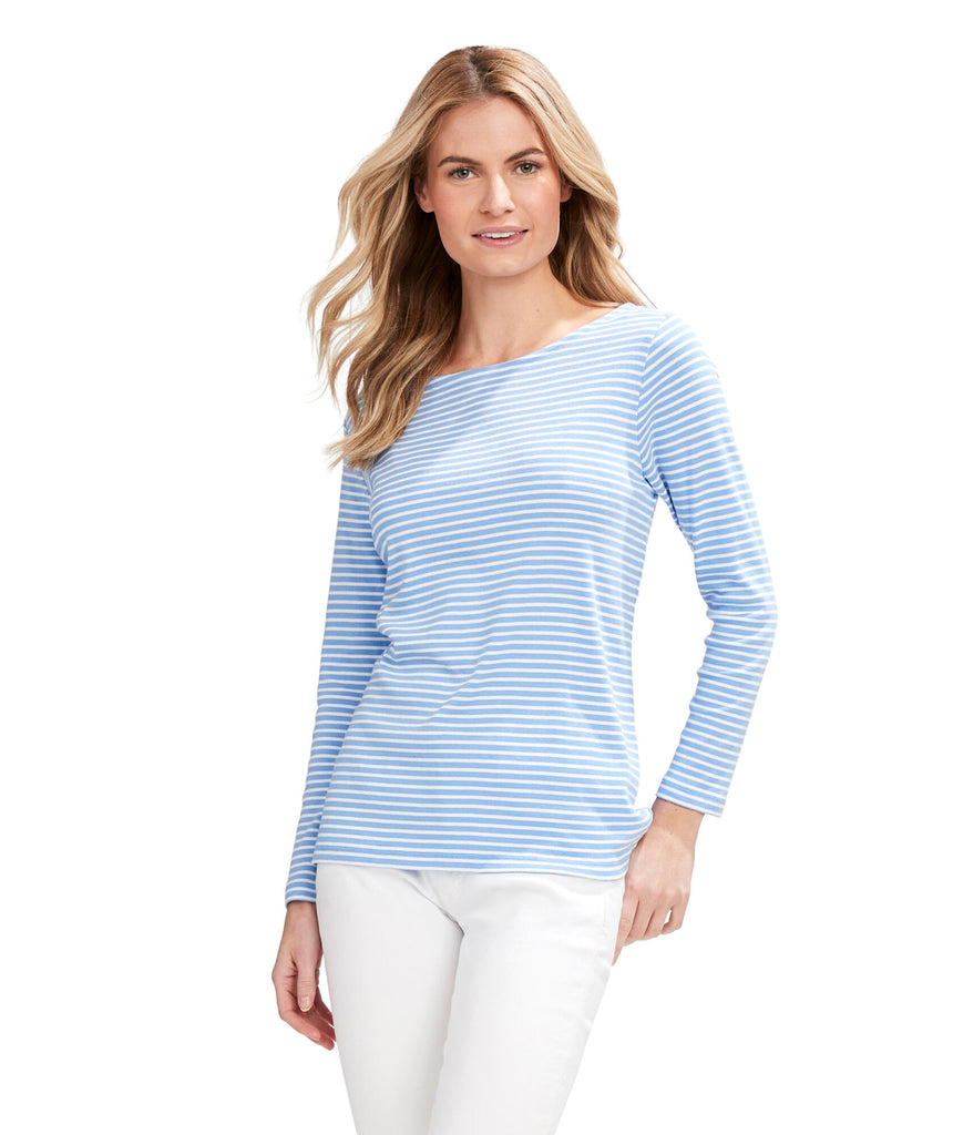 Vineyard Vines Striped Simple Boatneck Long-Sleeve Tee - Hydrangea