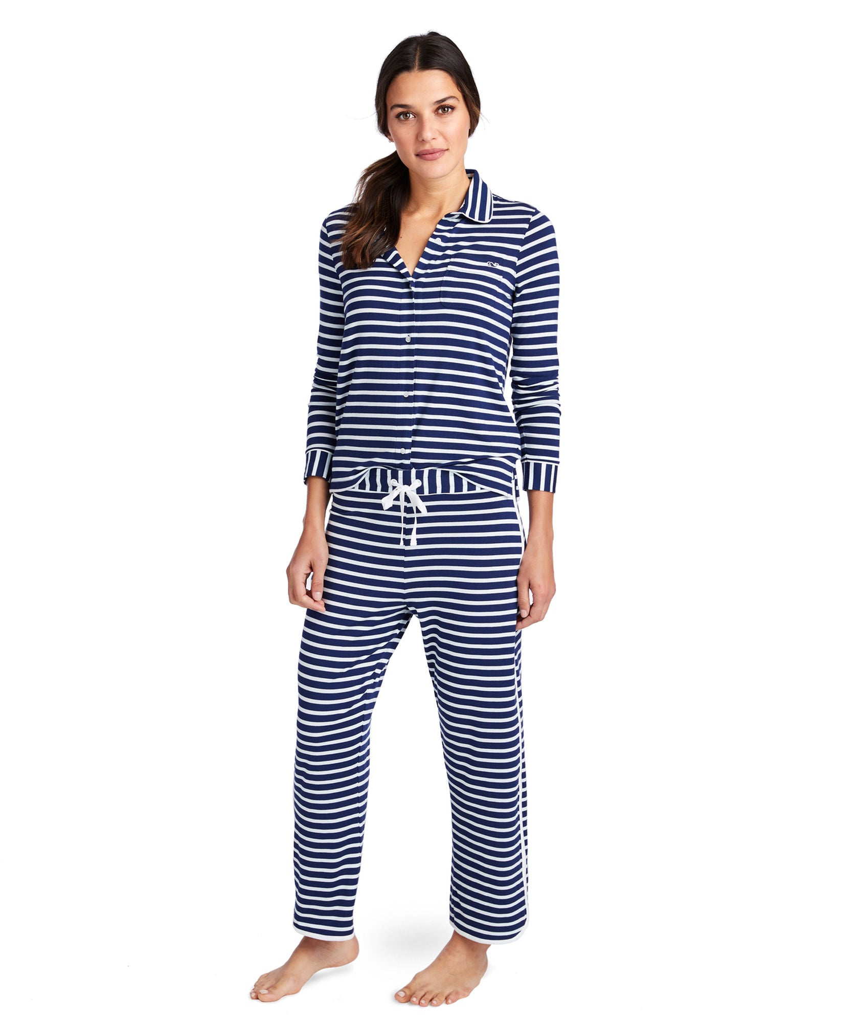 Vineyard Vines Classic Stripe Button Front Knit Lounge Set - Deep Bay Front