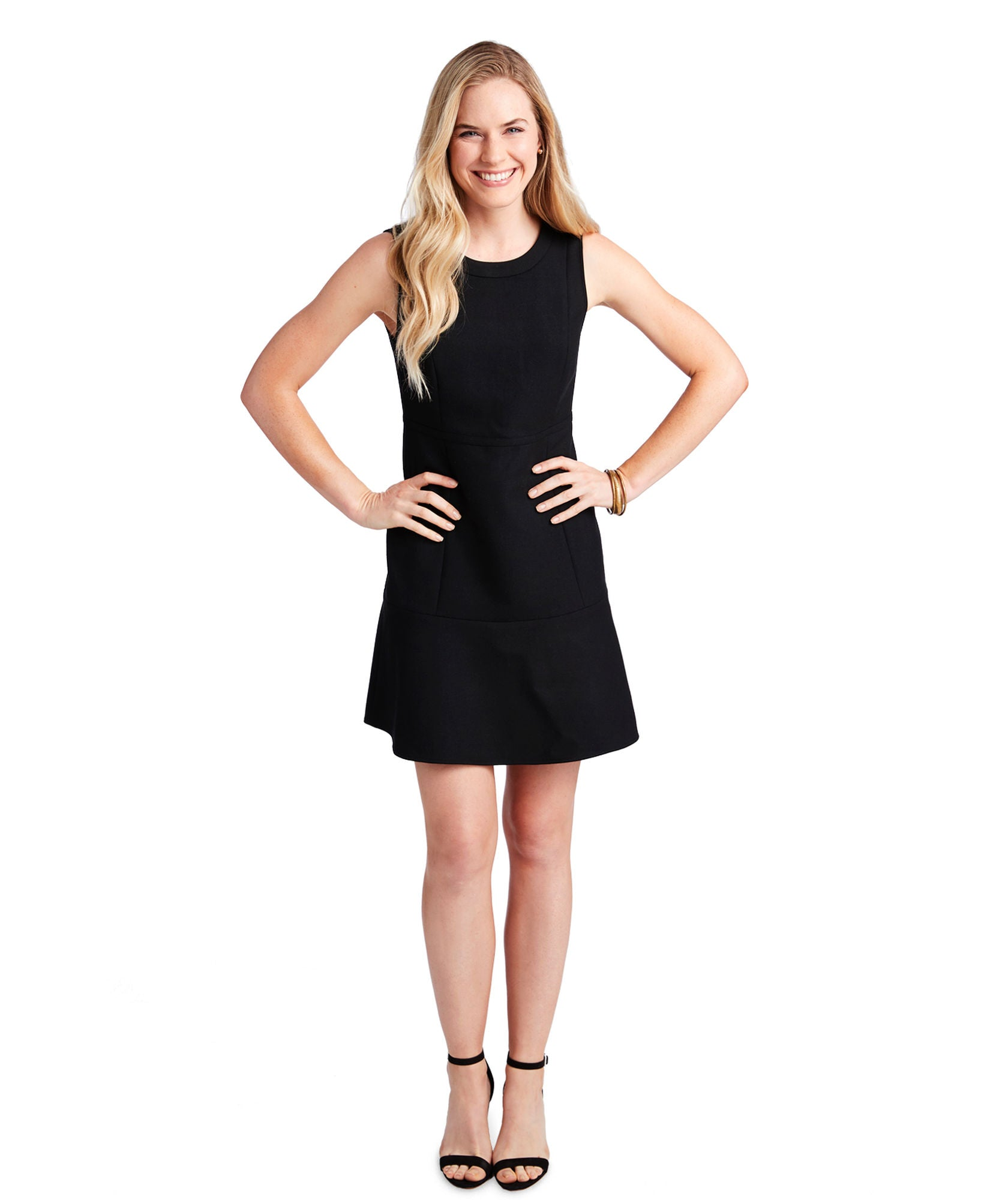 Vineyard Vines Sleeveless Fit & Flare Waisted Knit Dress - Jet Black Front