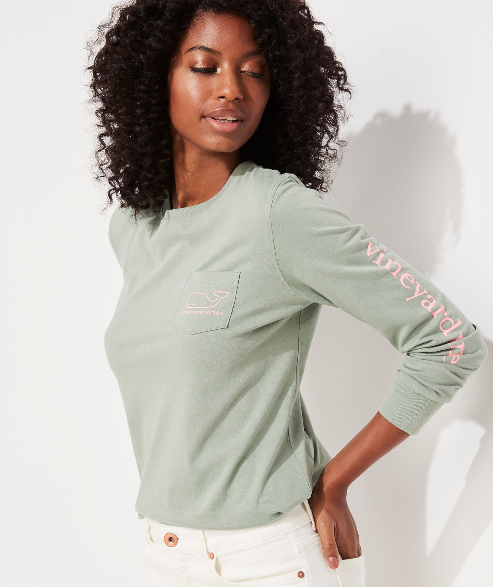 Vineyard Vines Whale Long-Sleeve Pocket Tee - Sage Olive