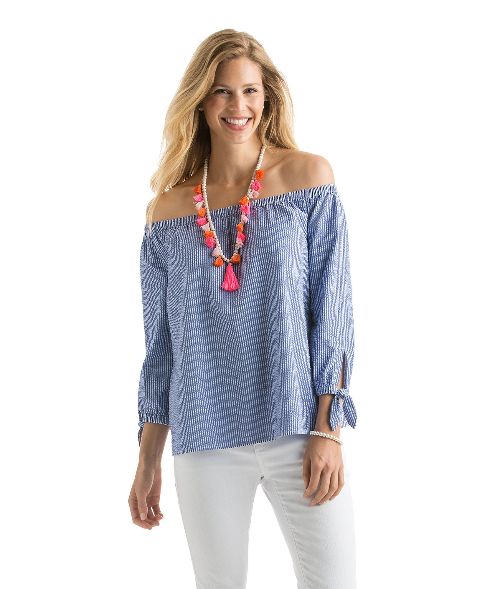 Vineyard Vines Off The Shoulder Seersucker Top - Royal Ocean Front View