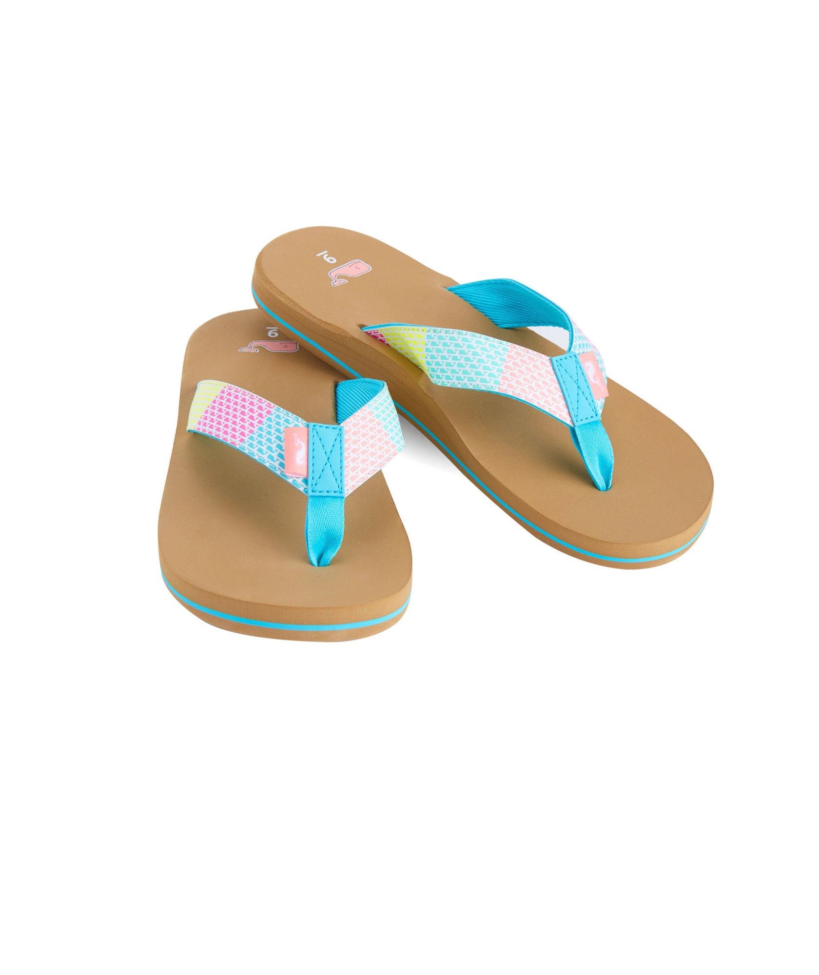Vineyard Vines Neon Whales Flip Flop - Turqs Front View