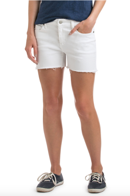 Vineyard Vines 3 1/2 Inch Raw Edge Denim Shorts - White Cap