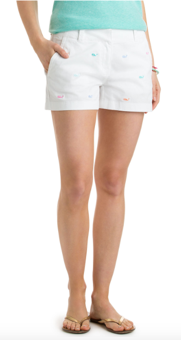 Vineyard Vines 3 1/2 Inch Whale Embroidered Every Day Shorts - White Cap