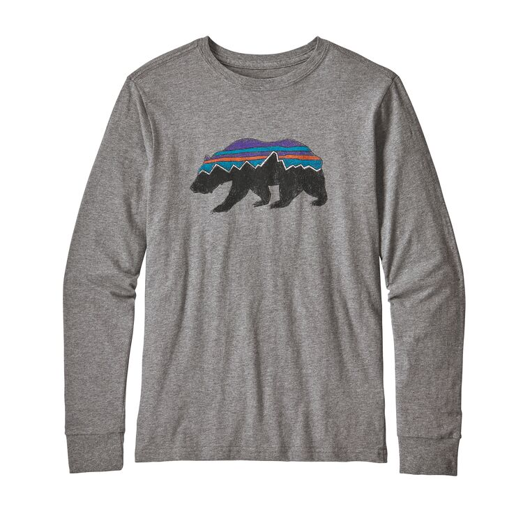 Patagonia Boys' Long-Sleeved Graphic Organic Cotton T-Shirt - Fitz Roy Bear Gravel Heather
