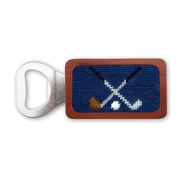 Smathers & Branson Crossed Clubs Needlepoint Bottle Opener - Classic Navy